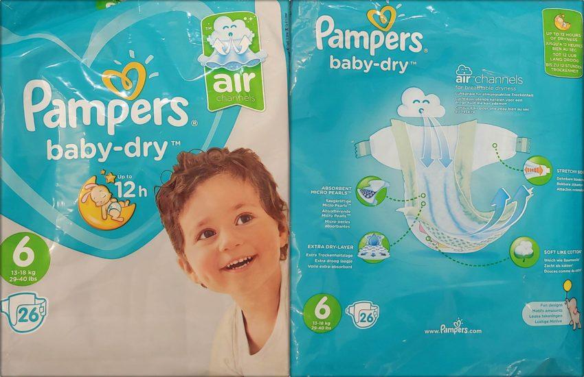 Einzelpack Vorder- und Rückseite der Pampers baby-dry Windeln Größe 6