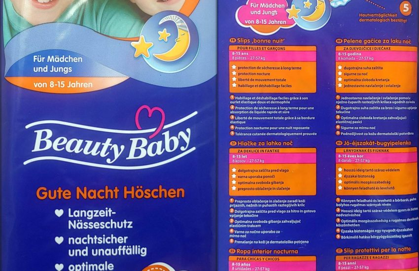 Einzelpack Vorder- und Rückseite der Beauty Baby Gute Nacht Höschen Größe L 8-15 Jahre