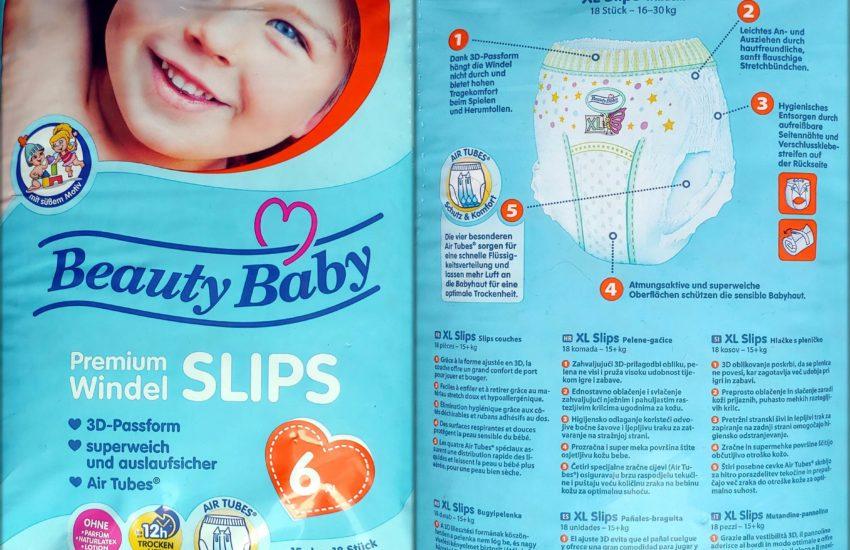 Einzelpack Vorder- und Rückseite der Beauty Baby Premium Windelslips Größe 6 XL