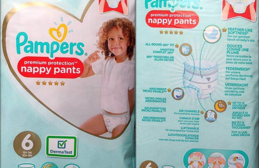 Einzelpack Vorder- und Rückseite der Pampers premium protection nappy pants Größe 6